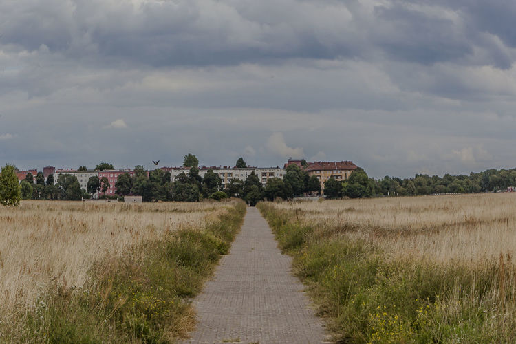 Architecture Built Structure City City Life Cityscape Cityscapes Cloud Cloud - Sky Day Diminishing Perspective Field Footpath Grass Landscape Nature Nature Outdoors Pathway Plant Sky Tempelhof Tempelhofer Feld The Way Forward Vanishing Point Walkway