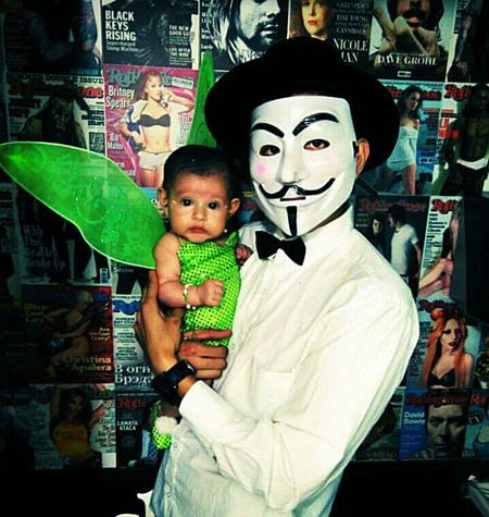 A young father in halloween
