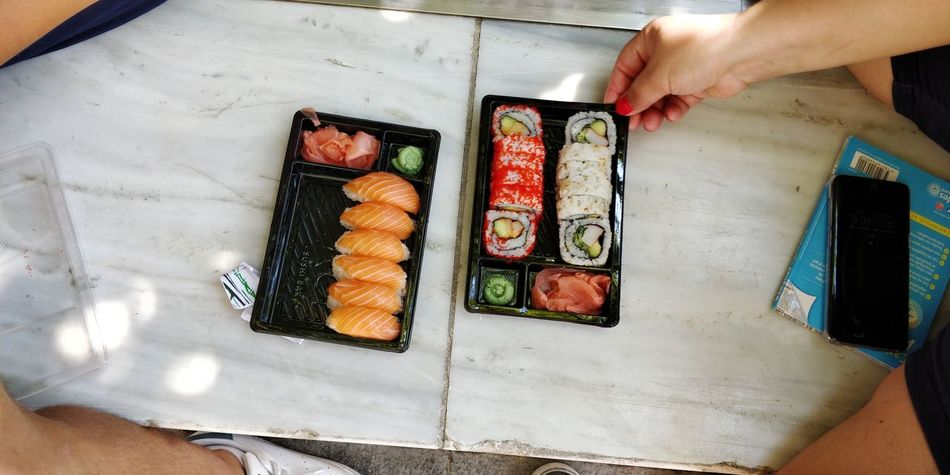 OnePlus 5t 3XSPUnity Athens, Greece Athens Human Hand Food And Drink Establishment Seafood Business Finance And Industry Working High Angle View Close-up Food And Drink Caviar Japanese Food Sushi Soy Sauce Japanese Culture