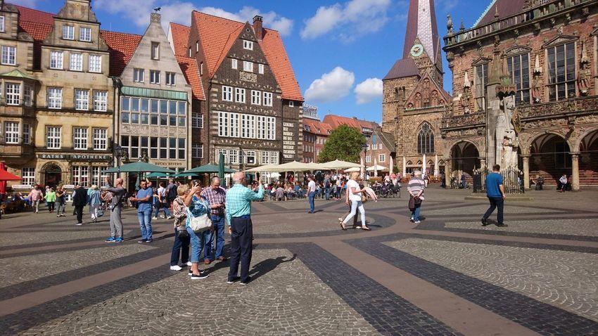 Am Markt. Bremen Germany HB Am Markt Rathausmarkt People People Watching Summer Historic Hanseatic Hansestadt Cultures Architecture Urban Beauty City Sky Architecture Building Exterior Built Structure