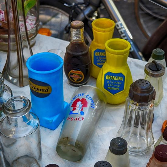 Antiques Antiques Market Beer Glass Bottle Close-up Container Dijon EyeEmNewHere Fleamarket Fleamarketfinds Glass Glass Bottles Glasses High Angle View Marché Aux Puces No People Orangina Retro Salt & Pepper Shakers Vintage Yellow