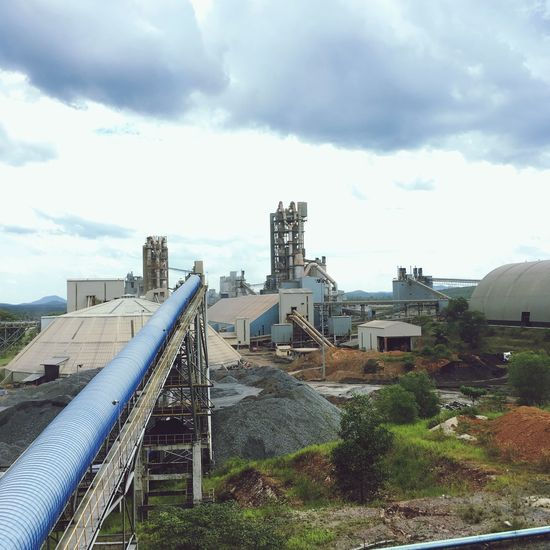 working view at heavy industry Cement Plant Cloud - Sky Sky Built Structure Architecture Industry Building Exterior Be. Ready. Factory Outdoors No People Day