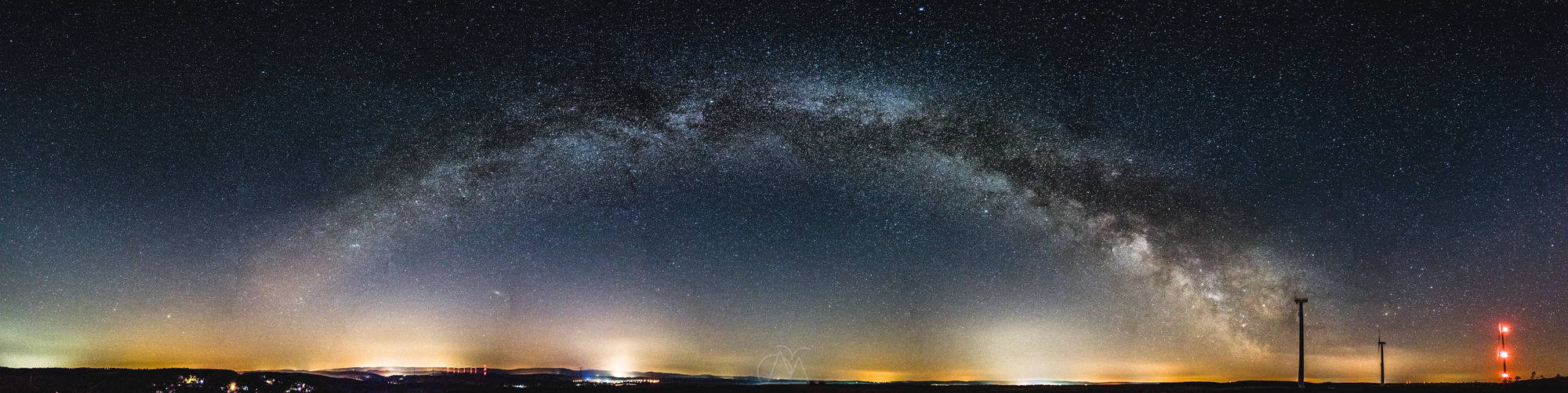This photo shows a panorama of the whole Milky Way arc consisting of 28 portrait shoots taken with my Nikon kit lens at 18mm and f/3.5. Astronomy Astrophotography Milky Way Milkywaygalaxy Nature Night Outdoors Sky Space Star - Space first eyeem photo