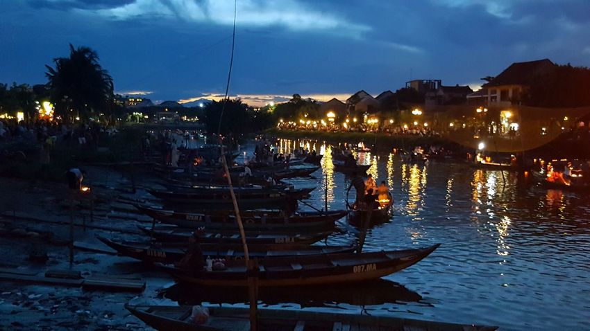 Nautical Vessel Reflection Night Cloud - Sky Water Sky Illuminated Outdoors Bridge - Man Made Structure Travel Destinations Beautiful Places In The World My Smartphone Life Floating On Water Floating Lanterns Lanterns In A Night Sky Dragon Bridge The Week On EyeEm