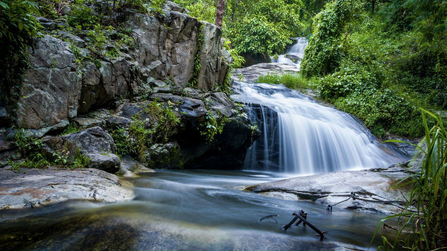 Adventure Beauty In Nature Day Forest Long Exposure Motion Nature No People Outdoors Rapid River Rock - Object Scenics Tree Water Waterfall