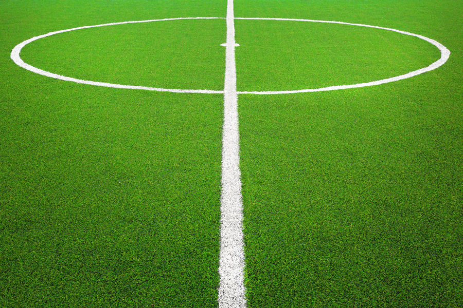 Center of Soccer or Football field American Football Field Backgrounds Center Close-up Competition Copy Space Court Day Empty Exercise Football Grass Green Color No People Outdoors Soccer Soccer Field Soccer Life Sport Stadium Texture Textured  Training Turf Yard Line - Sport