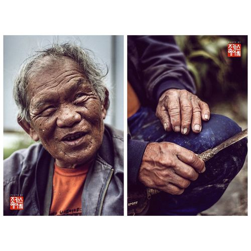 """Man with The Viewpoint """"First off, Maximo Aguian — """"Manong Max"""" as we called him — is a retired septuagenarian geodetic engineer who worked in Manila back in the 80s. Upon retiring, he picked up a grubbing axe, a plow, and went back to his roots of being a farmer in Banaue. Second, he and his wife own the iconic two-hectare rice paddies printed on the back of a 1,000-peso bill. Third, but not least, the Philippine Government named the well-known tourist landmark in Banaue after him — Aguian Viewpoint."""" Travel Mountains Maxaguian Portrait Diptych/Triptych Diptych Farmer Highlands Banaue Terraces Heritage Viewpoint Cordillera Ifugao Ethnic Unesco Philippines See complete photo set and full story on: www.fieldnotesofacasualtourist.tumblr.com. Follow me on Facebook and Instagram: fieldnotesofacasuatltourist"""