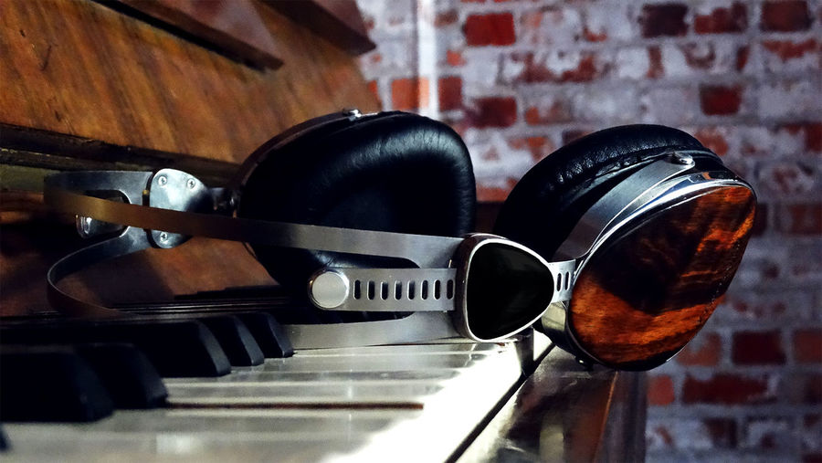 Close up of headphones on piano