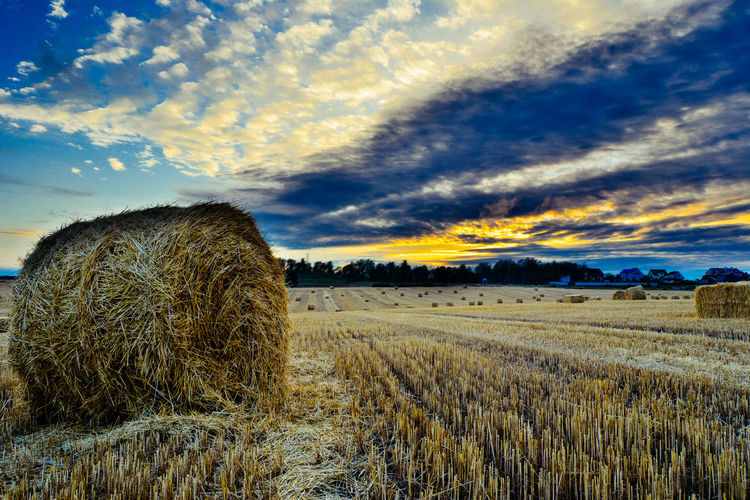 Hay Bales At Farm Against Cloudy Sky During Sunrise