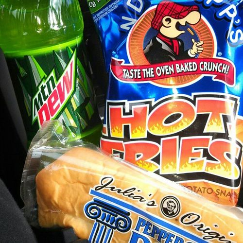 tell me my days not made. Mountaindew  Hotfries Pepperroniroll Yummy