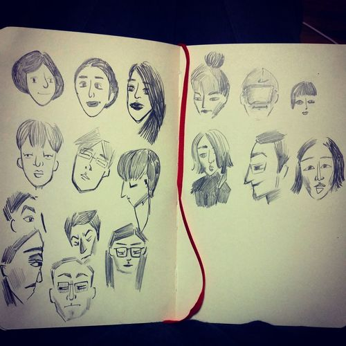 The people I came across in subway Sketch Pencil Drawing People Various Faces