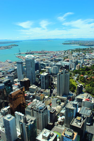 Auckland Auckland City Clear Sky Travel Aerial View Architecture Built Structure City Cityscape Day High Angle View Modern New Zealand Ocean Outdoors Sea Sky Sky Tower Sky Tower Auckland Skyscraper Travel Destinations View Point Water
