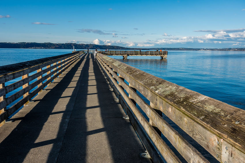 Pier at Dash Point, Washington. Architecture Beauty In Nature Dash Point Day Jetty Nature No People Outdoors Outdoors Photograpghy  Pier Scenics Sea Shadow Sky Sunlight Water Wood - Material Wood Paneling