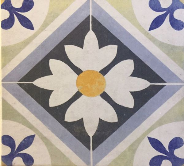 Seamless floral pattern,flower on the center surround by square and pattern on tile Painting Textile Textured  Elements Wall Antique Art Craft Mosaic Old Ornaments Tile Protuguese Vintage Tile Wallpaper Pattern Square Flower Floral Pattern Backgrounds Multi Colored