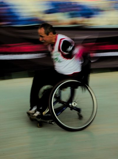 Determination Real People People Day One Person Outdoors Wheelchair Panningphotography Panning Stadium Running Determination Determined Santiago Castro Movement Speed First Eyeem Photo