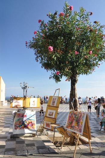 Taormina Sicily Italy Painting Art Tree Summer Sea Beach Sky Town Square