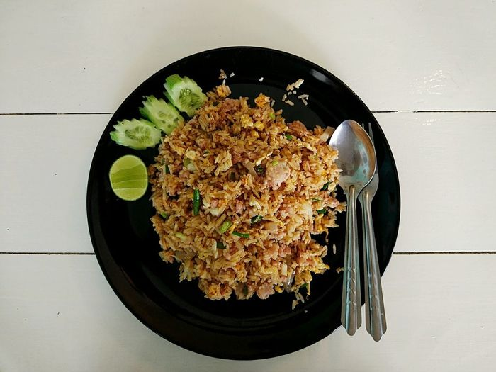 Fried Rice With Sour Pork Dish Diner Food And Drink Ready-to-eat Egg Pork Plate Thaifood Top View Food