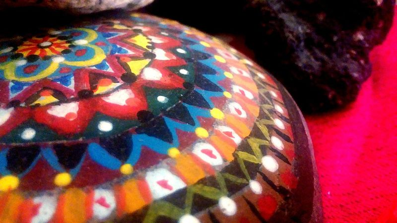 Multi Colored Mandala Colorful Coloursplash Paint Rock Rock Painting Pattern No People Close-up Indoors  Day Forms Lines In My House Taking Photos Photography Photos Landscape Tanu