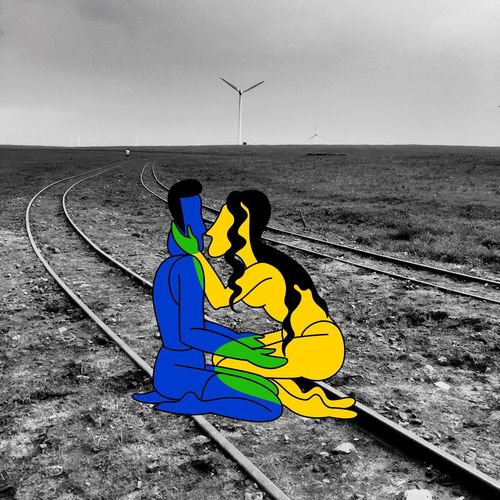 Kiss Couple Lovers Blackandwhite Funny Cartoon Train Tracks Railroad Track Black & White Black And White Collection  Black And White Photography Blackandwhite Photography Railway Track
