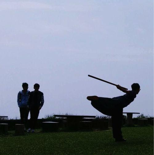 Leisure Activity Lifestyles Martial Arts Men Outdoors Real People TaiChi Boxing TaiChi Stick TaiChiChuan Taiwan