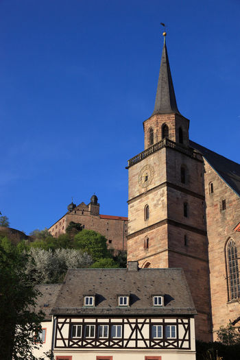old city and castle Plassenburg and church Petrikirche of Kulmbach, Frankonia, Bavaria, Germany Plassenburg Architecture Belief Blue Building Building Exterior Built Structure Clear Sky Clock Day History Kulmbach Low Angle View Nature No People Outdoors Place Of Worship Religion Sky Spire  Spirituality The Past Tower