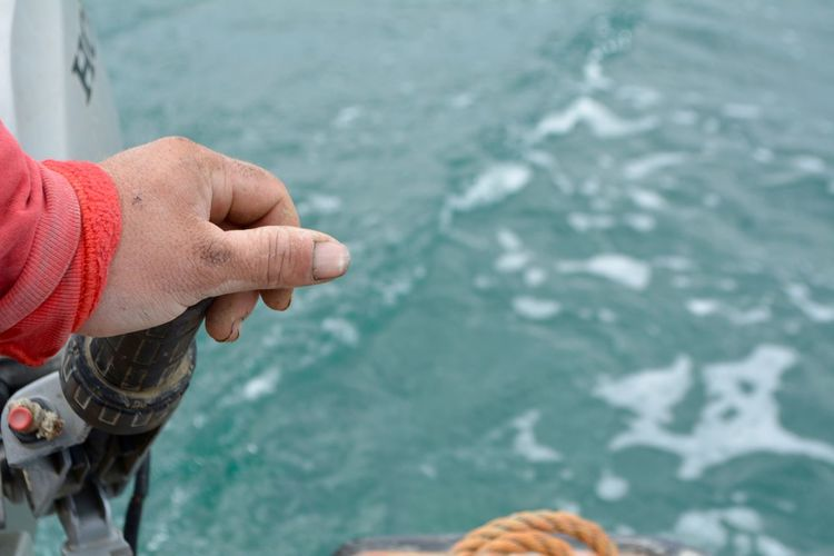 Cropped Hand Holding Handle By Sea