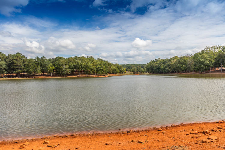 Lake @ Wild Safari Beach Beauty In Nature Blue Clay Clouds Forest Lake, Orange Shoreline Sky Stone Tranquility Water White