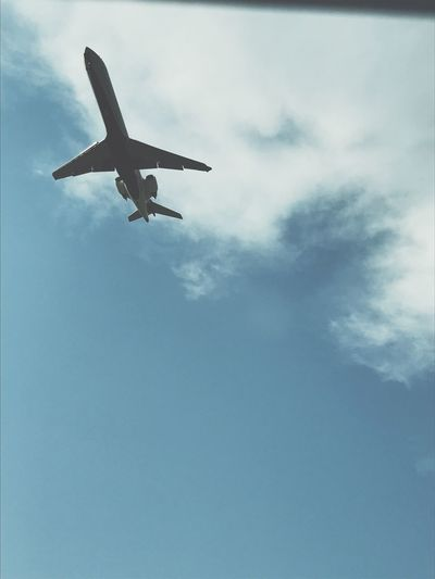 Flying High Air Vehicle Airplane Sky Mode Of Transportation Transportation Cloud - Sky Low Angle View