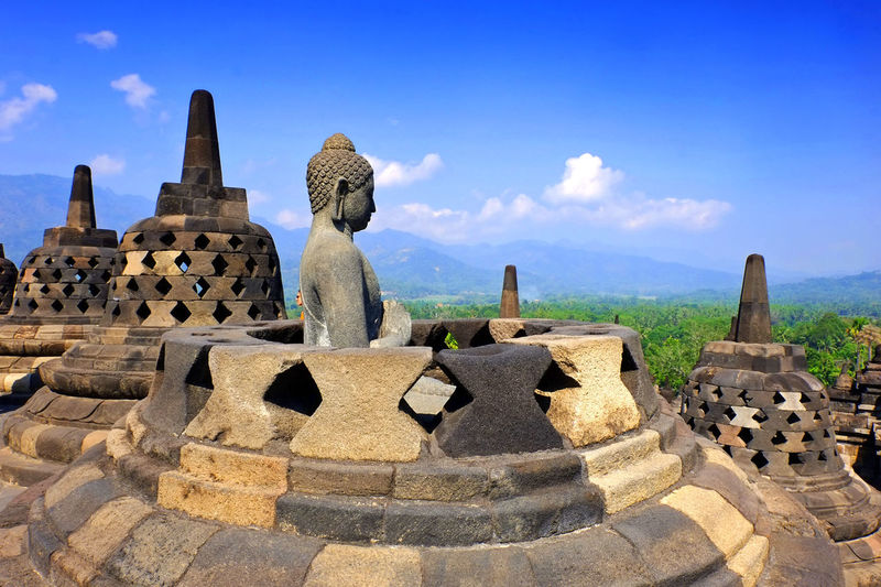 Borobudur Tample. The biggest temple with blue sky. Architecture Built Structure Building Exterior Travel Destinations Sky Outdoors Borobudur Temple, Indonesia Cultureheritage Stone First Eyeem Photo