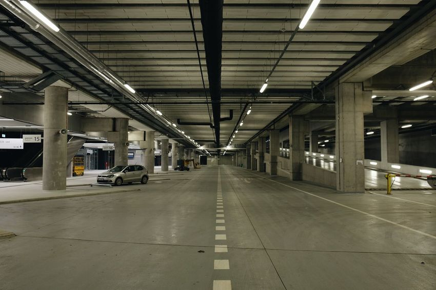 Underground bus station taken over by stranded car // Ceiling Transportation Indoors  Car Built Structure Land Vehicle Stationary Architecture No People Day Parking Garage Underground Concrete Vanishing Point FUJIFILM X-T10 XF18-55mmF2.8-4 R LM OIS F/3.6 1/60 Sec via Fotofall