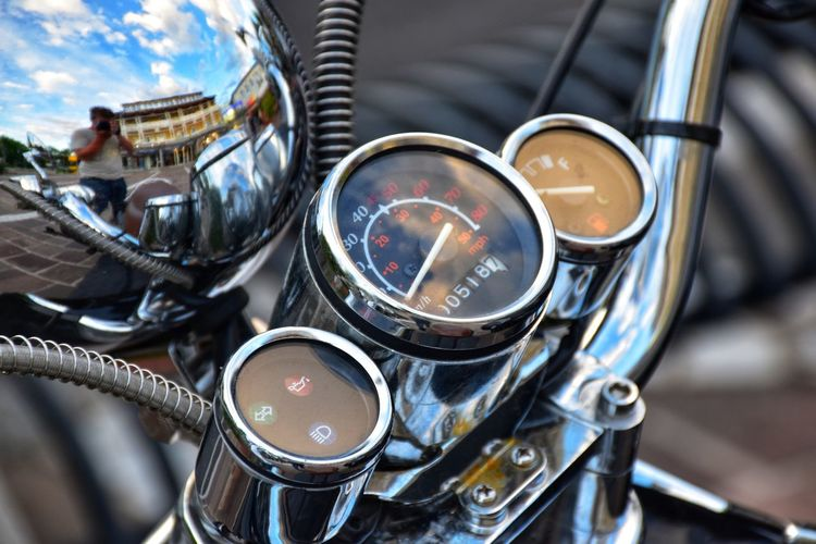 Close-up motorcycle dashboard