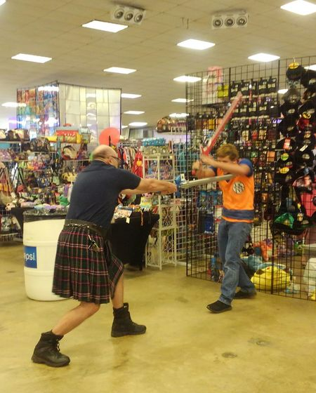 Cosplay Full Length Store Fun Arts Culture And Entertainment Men Leisure Activity People Adult Enjoyment Celebration Customer  Holiday - Event Indoors  Adults Only Cheerful Smiling Day Only Men Young Adult Cosplay Pensacola Florida Men In Kilts No Edit/no Filter See The Light Perspectives On People