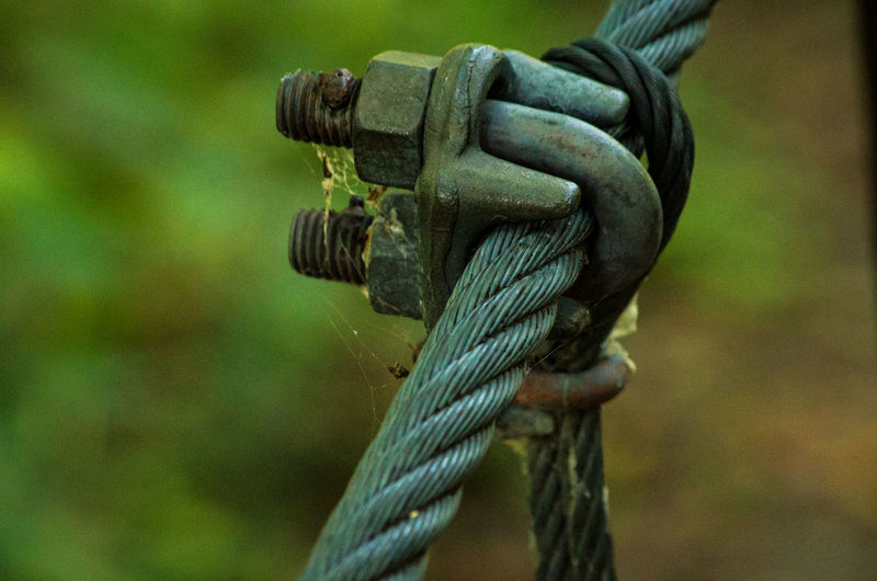 Close-up of rope attached to metal