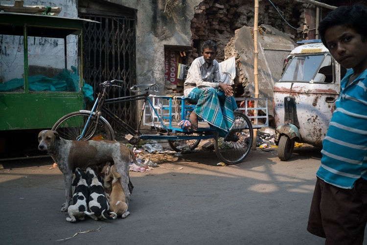 Adult Architecture Building Exterior Built Structure City Day Domestic Animals Mammal Men Mode Of Transport One Animal Outdoors People Pets Real People Sitting The Street Photographer - 2017 EyeEm Awards Transportation Young Adult