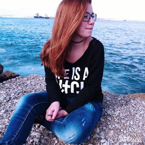 'With your love, nobody can drag me down!' Hi! DontWorryBeHappy Sea That's Me Red Hair Hello World Don't Care Oops Relaxing Love It