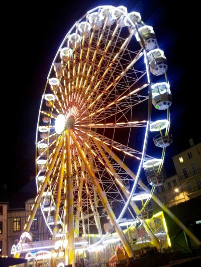 Amusement Park Amusement Park Ride Arts Culture And Entertainment Circle Ferris Wheel Framing Grande Roue De Rouen , France Illuminated Leisure Activity Multi Colored Night Lights Night Photography
