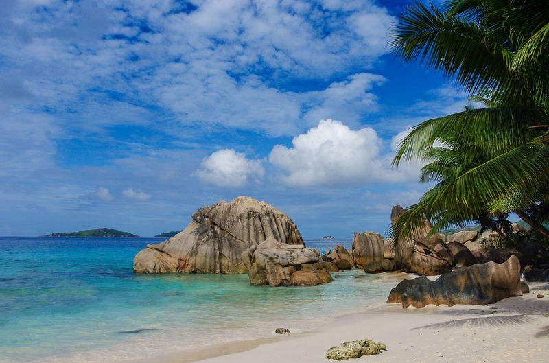 Seychelles Anse Patates Nature Beauty In Nature Scenics - Nature No People Seychelles Beach Sand White Sand Palm Tree Travel Destinations Paradise Paradise Beach Ocean Natuer_collection Nature Colorful Sky Stone Rocks Rock - Object Green Color Beauty In Nature Africa Cloud - Sky