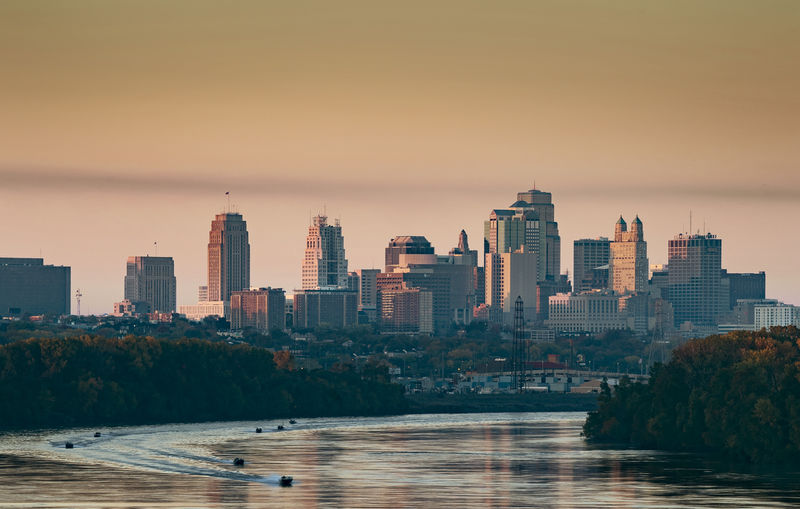 Sunrise on the Kansas City MO skyline. No clue why the boats were out. Looked to be fishing boats. Urban Skyline City Sunrise Cityscape Kansas City Landscape Skyscraper Sony A9 Sonyalpha Shot With Sony A9 EyeEm Best Shots EyeEm Selects EyeEm Gallery