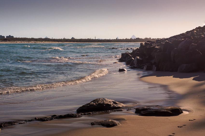Sunrise on the beach Australia Beach Calm Caloundra Coastline Exploring Footprints Horizon Over Water Ocean Outdoors Queensland Rippled Sand Sea Seascape Shore Tranquil Scene Vacation Vacations Water Wave