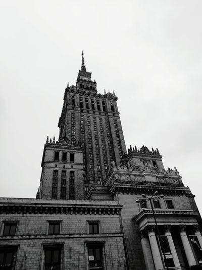 Architecture Travel Destinations Building Exterior History Built Structure Travel Statue Low Angle View Outdoors City Sky WarsawCity Warsawthecapitolofpoland Poland Warsaw The Palace Of Culture And Science