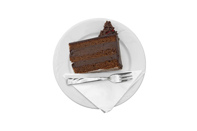 Chocolate cake in plate against white background