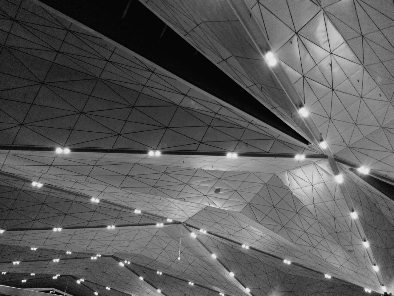 ceiling, indoors, illuminated, no people, low angle view, architecture, day