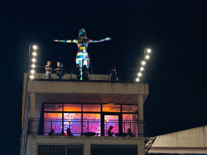 Night Out Portugal Balcony Illuminated Lisbon Lx Factory Night Nightlife Real People Sculpture Sky Standing Statue