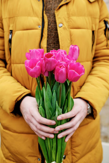 Close-up of person holding bouquet of tulip