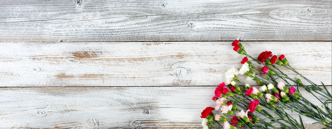 Close-Up Of Flowers On Wooden Table