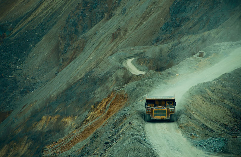 High angle view of cars on mountain