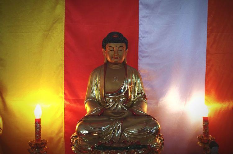 Statue of Budha Praying Budha Temple Budha Vihara Statue Religion Burning Flame Indoors  Arts Culture And Entertainment Sculpture Illuminated No People Close-up