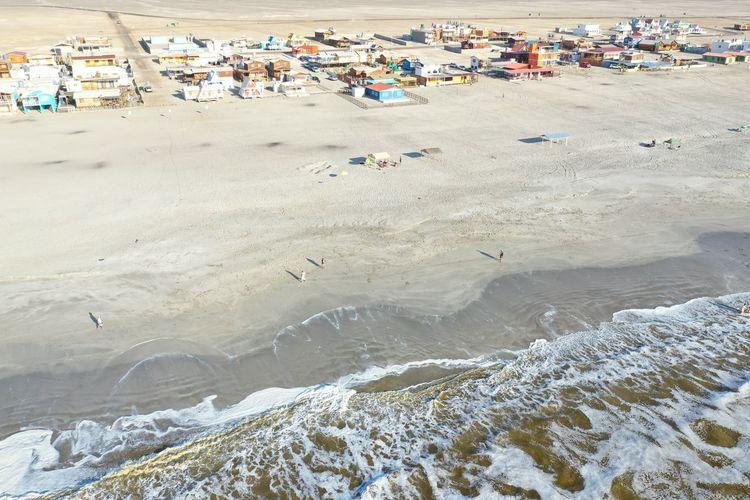 High angle view of huts at beach