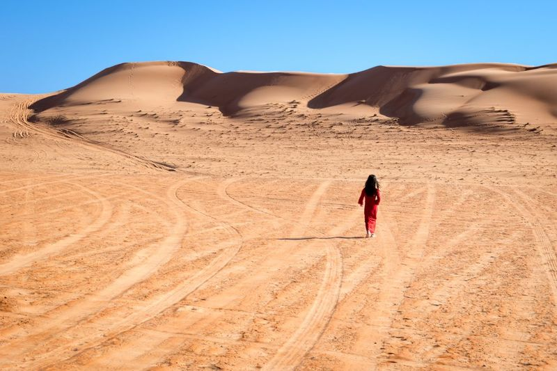 EyeEm Selects Sand Desert One Person Land Climate Landscape Sunlight Walking Sand Dune Arid Climate Leisure Activity Nature Day Scenics - Nature Lifestyles Sky Remote Environment Real People Outdoors