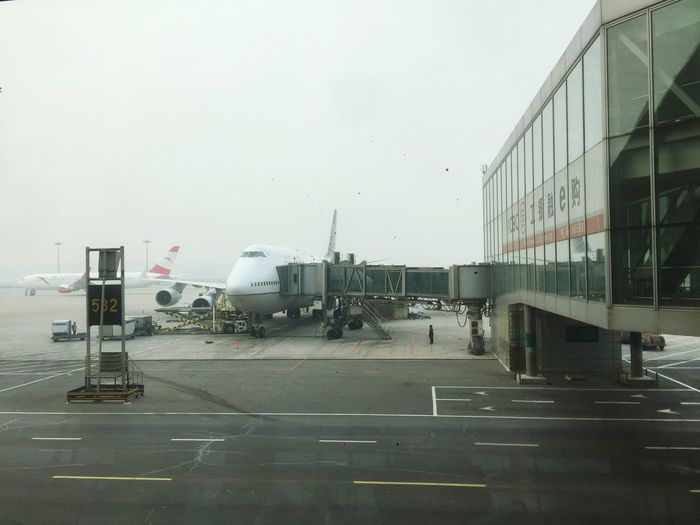 Airport Flight Gateview Terminal Beijing Smog Plane Planes Window Airportgate Runway Low Visibility
